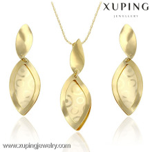 63695 fashion jewelry promotional price leaf shape dubai gold jewelry sets