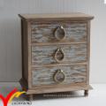 Estilo francês rústico manchado 3 armários cabeceira gaveta com botões de corda