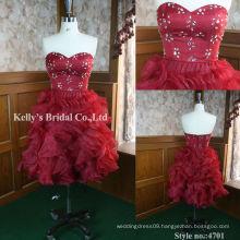 red organza mini evening dress 2013