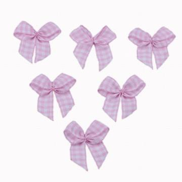 Pink Chex Ribbon Bow