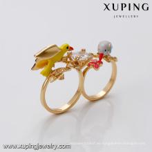 14458 xuping 18k anillo de cristal de imitación de diseño de moda chapado en oro para las mujeres