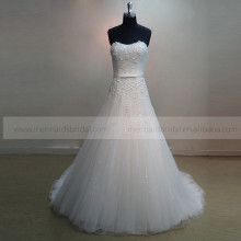 Exquisite Sweetheart A-line Shiny Sequin Flowers & Beads Wedding Dress Chapel Train