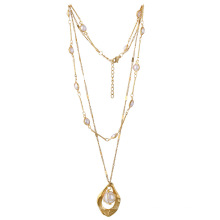 Minimalist jewelry 18K gold plated stainless steel necklace geometric hollow pearl pendant double layer necklace