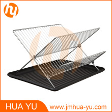 Chrome-Plated Steel Foldable X Shape 2-Tier Dish Drainers with Drainboard