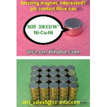 2013 buena calidad ndfeb imanes de cilindro para sensores