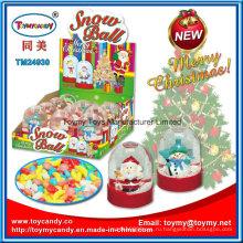 Рождественские акции стекла снег мяч игрушка с конфетой