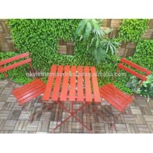 Silla de mesa plegable al aire libre Acacia Wood Metal Frame