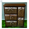 Antique Living Room Cabinet Wooden Cabinet with 5 Rattan Storage Drawers