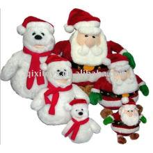 Weich gefüllter Plüschweihnachtsschneemann 2011 und Weihnachtsmann