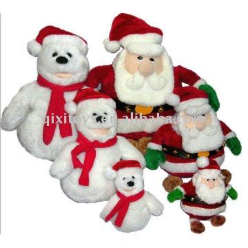 2011 мягкая фаршированные плюшевые Рождественский Снеговик и Санта-Клаус