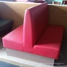 Modernes Leder-hölzerner Esszimmer-Sofa