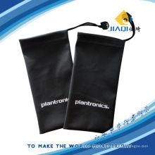 a black microfiber drawstring pouch