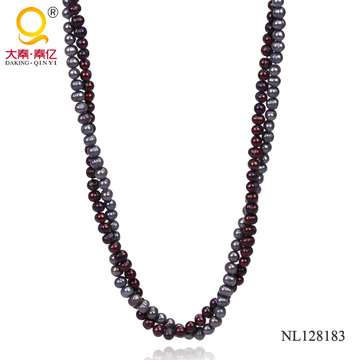 Two Rows Potato Shape Fashion Pearl Necklace for Woman