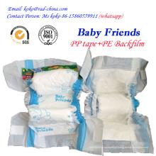 Fábrica marca bebê amigos filme PE PP fita descartável bebê Fralda fralda
