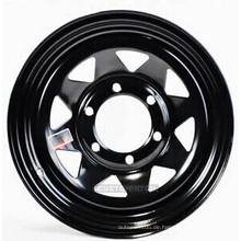 Schwarz und Weiß 15X8 '' Acht Speichen Stahlrad für Anhänger und 4x4 Autos