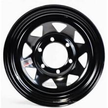 Negro y blanco 15X8 '' Ocho rayos rueda de acero para remolques y coches 4x4