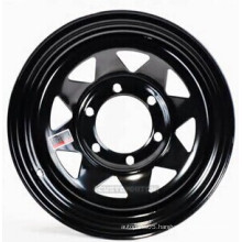 Black and White 15X8'' Eight Spokes Steel Wheel for Trailers and 4x4 Cars