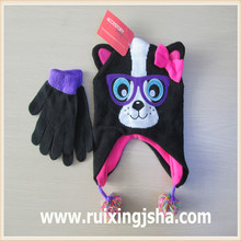 Girls fashion knit critter hat and glove sets