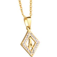 Großhandel Stahl Benutzerdefinierte Kette Kristall Modeschmuck 18 Karat Schmuck Gold Halskette Frauen