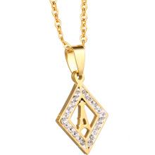 Atacado de Aço Personalizado Cadeia de Cristal Moda Jóias 18 K Colar de Jóias de Ouro Mulheres