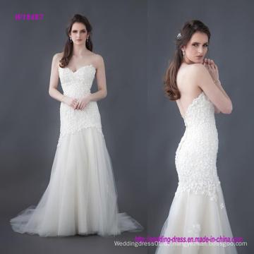Schöne Perlen-Blumen-Spitze-Hochzeits-Kleid mit einer angepassten langen Linie Mieder und einem überlagerten Tulle-Rock