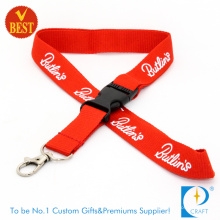 Red Flat Polyester Lanyard with Plastic in Line Buckle (LN-0170)