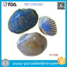 Forma de concha personalizada Suporte de prato de cerâmico cinza azul
