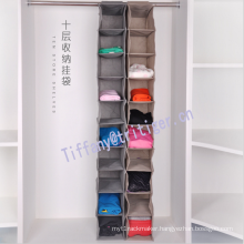 10 Shelf hanging closet organizer Wardrobe Clothes Storage folding fabric wardrobe organizer