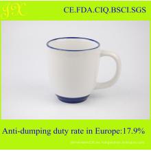 FDA taza de cerámica de sublimación con borde y manija de color para el café