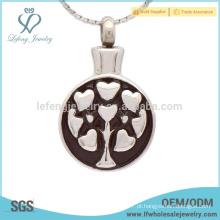 Prata coração cremação cinzas pingente, esmalte locket que contém cinzas