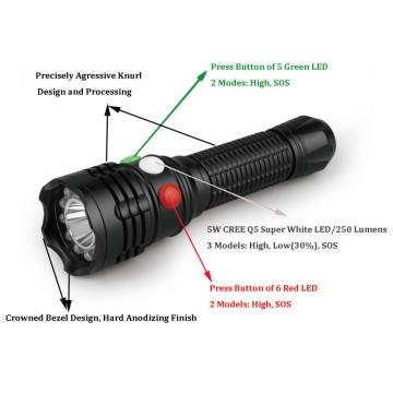 green flashlight with 3 different color of buttons