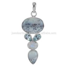 Precioso ópalo dendrítico y piedras preciosas multi 925 joyería de plata de ley colgante