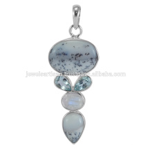 Lovely Dendritic Opal And Multi Gemstone 925 Sterling Silver Pendant Jewelry