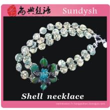 Cool gros nouveau grand cristal perlé mode multi brin naturel long unique fait à la main fleur mer coquille de coquillages collier pour les femmes