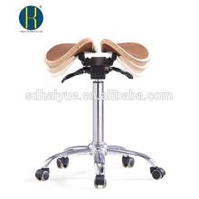 taburete de silla de madera de nogal de alta calidad con asiento basculante para salón de peluquería