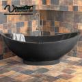 2018 New Custom Made Round Black Freestanding Natural Stone Bathtub For Sale Freestanding