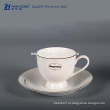 Custom Bone china Alta luminosidade Branco logotipo personalizado fino copo de cerâmica e pires