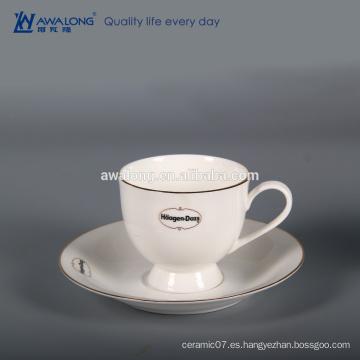 Porcelana de hueso de encargo Alta brillo Logotipo de encargo blanco Taza y platillo de cerámica finos