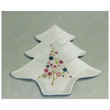 christmas tree shaped porcelain plate for BS12056I