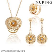 63738 Xuping moda banhado a ouro de luxo conjuntos de jóias de casamento de noiva