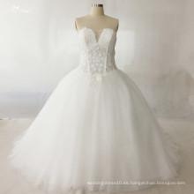 LZ173 Alibaba rebordeó la bola del vestido nupcial del vestido de boda de la ilusión del Applique de la tela del cordón