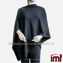 Clássico preto tricotado mulheres Cashmere Poncho Pashmina