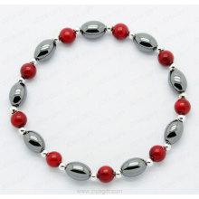 Hematite Red Coral round beads Bracelet