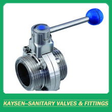 DIN Sanitary thread butterfly valve with handle
