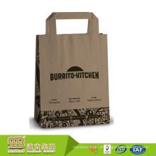 Fabrik-Verkaufs-Gewohnheit druckte recyclebares Lebensmittelgeschäft-Nehmen-weg Paket-Brown-Kraftpapier-Taschen mit flachem Griff