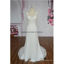 Flores hechas a mano elegante sin tirantes con cuentas una línea de gasa vestido de novia