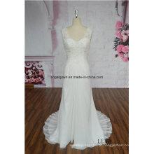 Flores artesanais elegantes Strapless frisado a linha Chiffon vestido de noiva