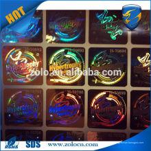 VENTA CALIENTE La etiqueta de encargo de la caída de la etiqueta del holograma de Shenzhen ZOLO