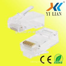Factory price best selling crystal head rj45 coupler price Cat5e rj45 3pin connector plug 8P8C 6u modular plug