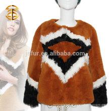 2015 Pop Art Estilo Moderno Mulheres Coelho Fur Jacket Coat Atacado